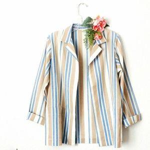 80-90s Vintage Handmade Striped Blazer Jacket M/L